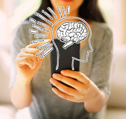 Brain Illustration With Woman Using Her Smartphone In A Living R